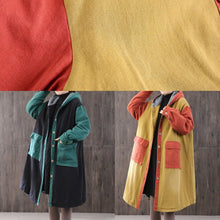 Load image into Gallery viewer, Elegant green womens parkas oversized hooded patchwork winter coats