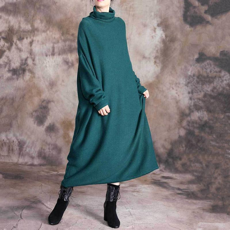 Elegant high neck cotton long sleeve clothes Women pattern green long Dress