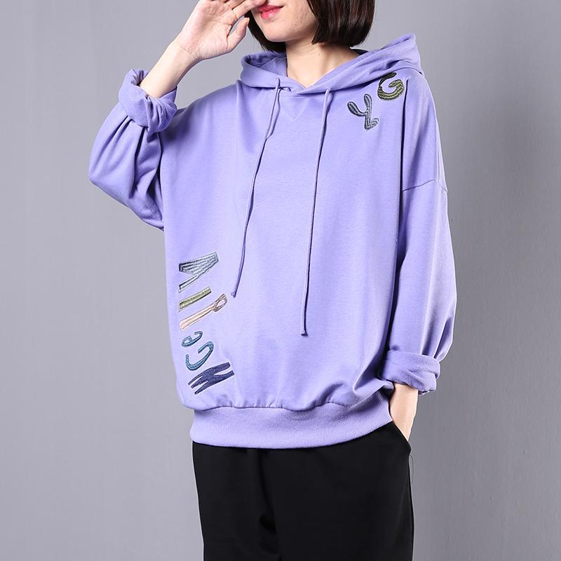 Elegant hooded cotton tunic pattern Photography purple embroidery blouses fall