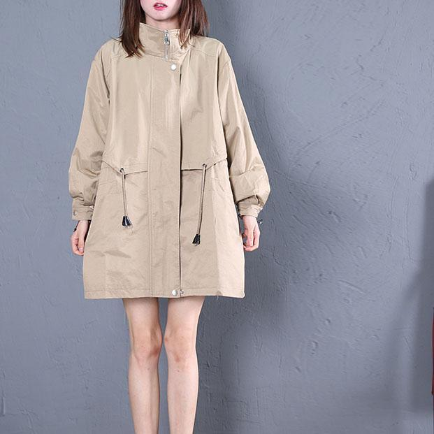 Elegant khaki Loose fitting medium length jackets fall outwear drawstring