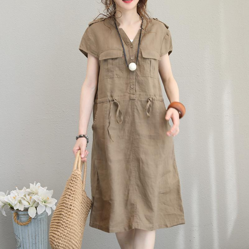 Elegant khaki linen dress oversize V neck tie waist linen clothing dresses New pockets dress