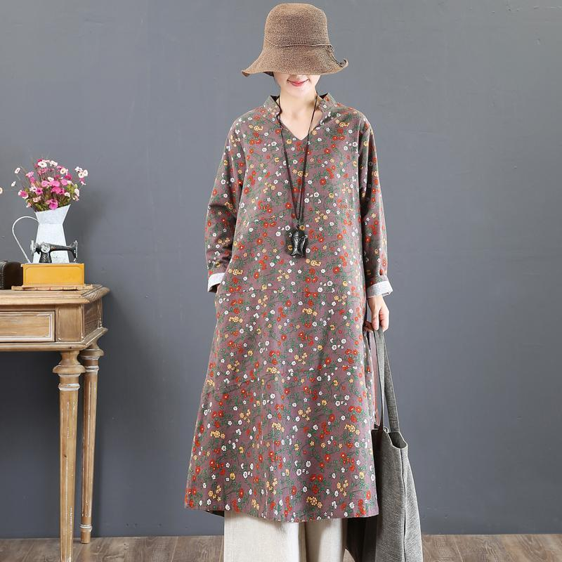 Elegant khaki prints 2018 fall dress plus size clothing stand collar traveling dress boutique loose waist cotton caftans
