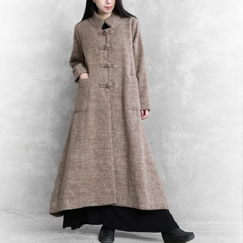 Elegant khaki woolen coats plus size long jackets women stand collar large hem coats