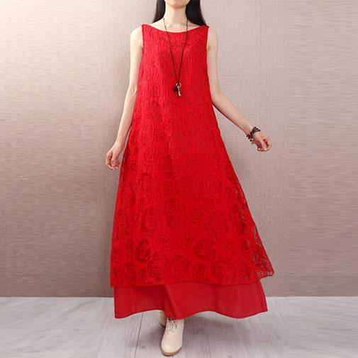 Elegant lace blended clothes Sewing red sleeveless Kaftan Dress summer