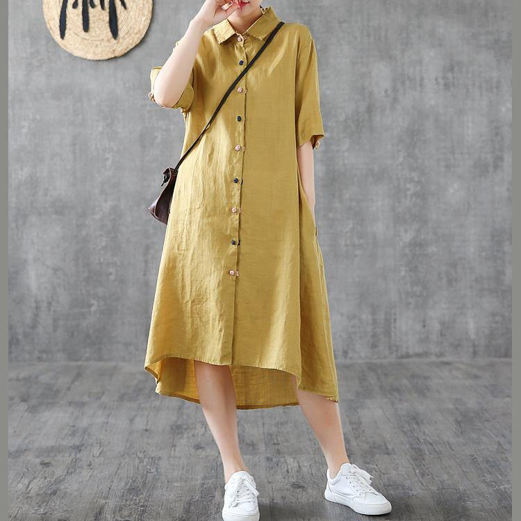 Elegant lapel Button Down linen clothes For Women Shirts yellow Dress