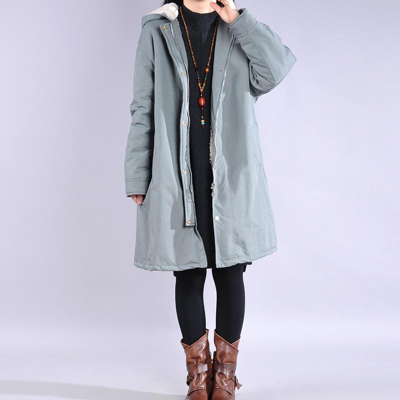 Elegant light blue Parkas for women casual winter jacket hooded thick coats