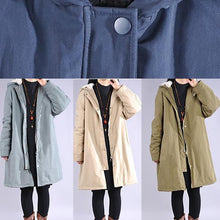 Laden Sie das Bild in den Galerie-Viewer, Elegant light blue Parkas for women casual winter jacket hooded thick coats