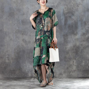 Elegant linen blended maxi dress stylish Women Short Sleeve Irregular Retro Printed Dress
