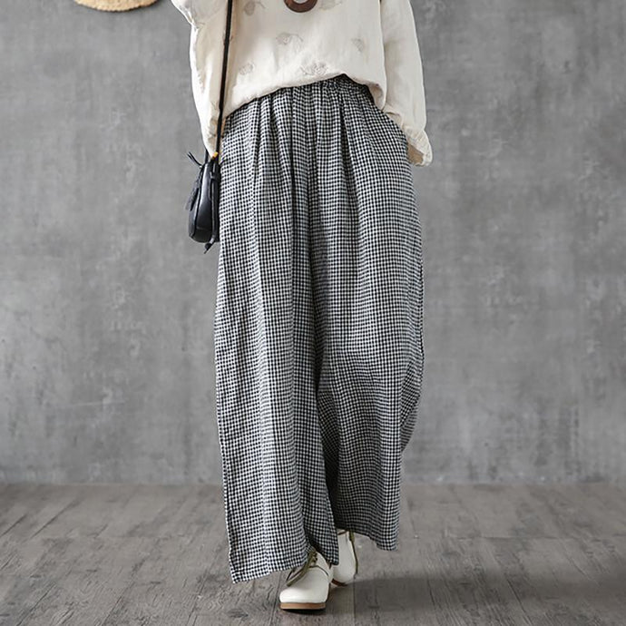 Elegant linen cotton women Omychic Vintage Plaid Linen Ankle Length Wide Leg Pants