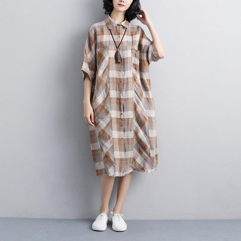 Elegant linen knee dress Loose fitting Women Polo Collar Short Sleeve Plaid Shirt Dress