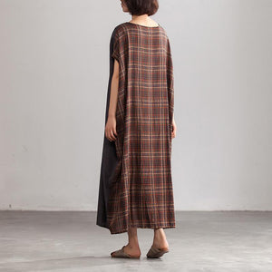 Elegant linen maxi dress stylish Linen Loose Baggy Plaid Brown Summer Dress Women