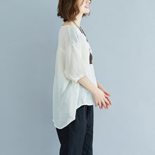 Load image into Gallery viewer, Elegant linen tops plus size Summer High-low Hem Women Short Sleeve Retro Loose White Blouse