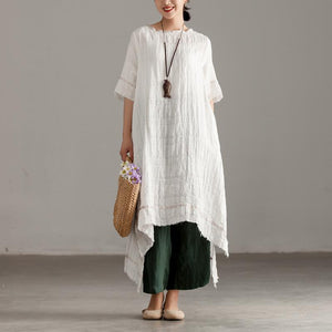 Elegant long linen dresses stylish Slit Short Sleeve High-low Hem Summer Long White Dress