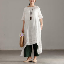 Load image into Gallery viewer, Elegant long linen dresses stylish Slit Short Sleeve High-low Hem Summer Long White Dress