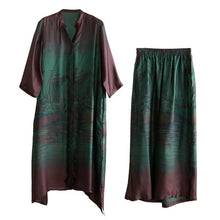 Load image into Gallery viewer, Elegant loose silk green print suit female 20 spring long literary shirt + wide-leg pants