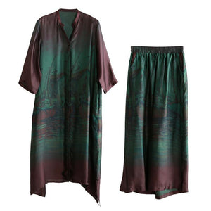 Elegant loose silk green print suit female 20 spring long literary shirt + wide-leg pants