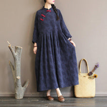 Load image into Gallery viewer, Elegant navy woolen overcoat plus size long stand collar patchwork dress