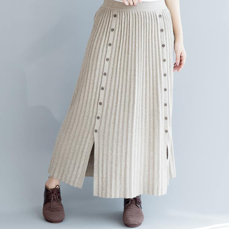Elegant nude 2018 fall skirt oversize side open skirt casual elastic waist maxi skirts