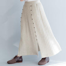 Load image into Gallery viewer, Elegant nude 2018 fall skirt oversize side open skirt casual elastic waist maxi skirts
