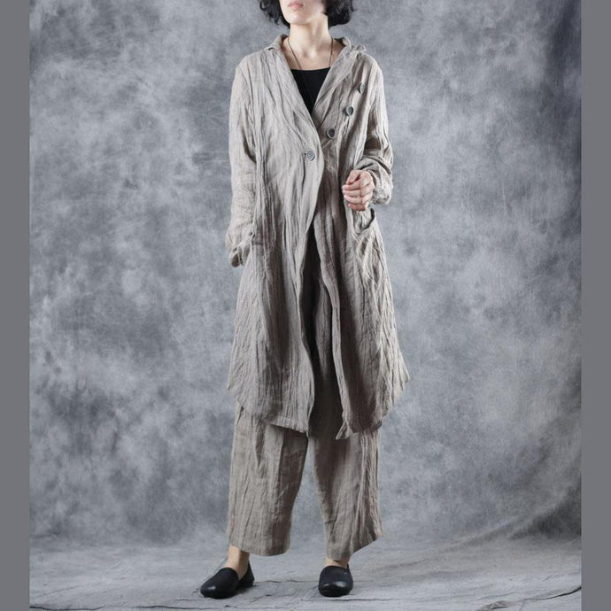 Elegant nude outwear casual long fall Notched wrinkled coat