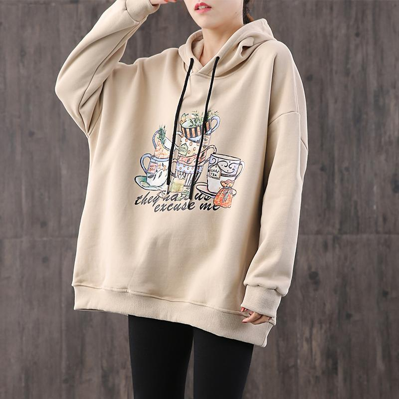 Elegant nude print cotton tunic pattern hooded drawstring daily top