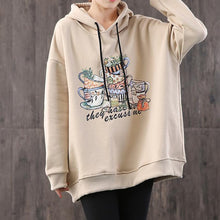 Load image into Gallery viewer, Elegant nude print cotton tunic pattern hooded drawstring daily top