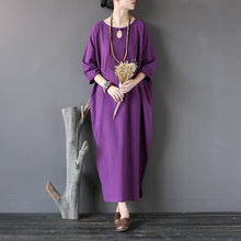 Load image into Gallery viewer, Elegant o neck half sleeve cotton spring Robes Photography purple Dresses
