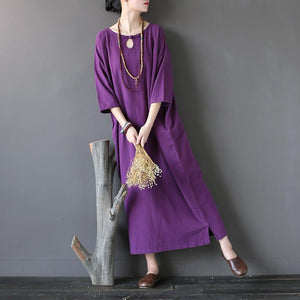 Elegant o neck half sleeve cotton spring Robes Photography purple Dresses