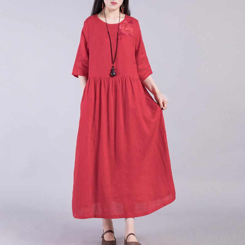 Elegant o neck linen clothes Cotton red embroidery Dresses autumn