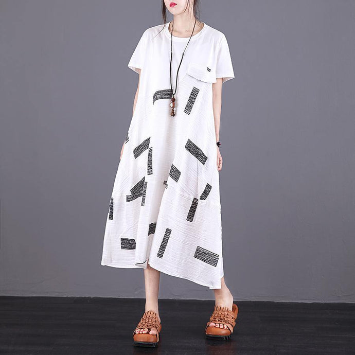 Elegant o neck patchwork linen Robes Sewing white Dresses summer