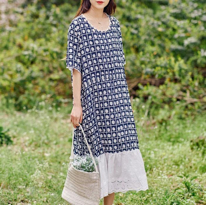 Elegant o neck patchwork linen cotton Shape navy print Dresses summer