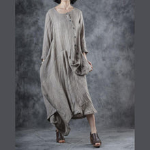 Load image into Gallery viewer, Elegant o neck patchwork linen cotton outfit Catwalk beige Dress