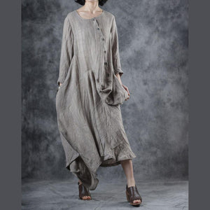 Elegant o neck patchwork linen cotton outfit Catwalk beige Dress