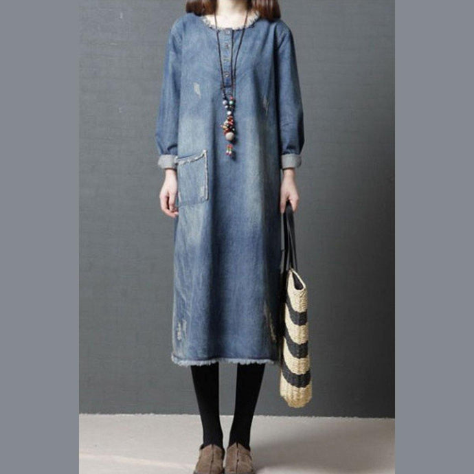 Elegant o neck pockets cotton tunic pattern plus size Sleeve denim blue Art Dress