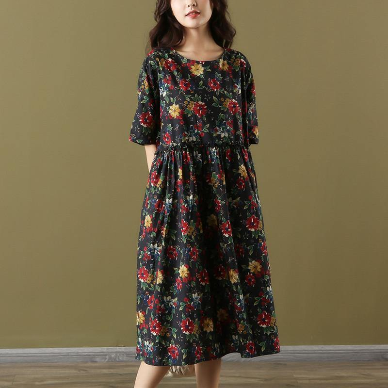 Elegant o neck wrinkled Cotton Wardrobes Ward robes blue print Dresses summer