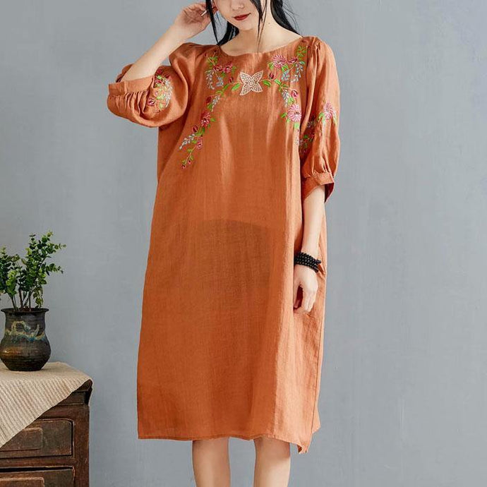 Elegant orange embroidery linen clothes o neck half sleeve Knee summer Dress