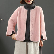Load image into Gallery viewer, Elegant pink Woolen Coats Women Loose fitting winter jackets side open sleeve winter coat
