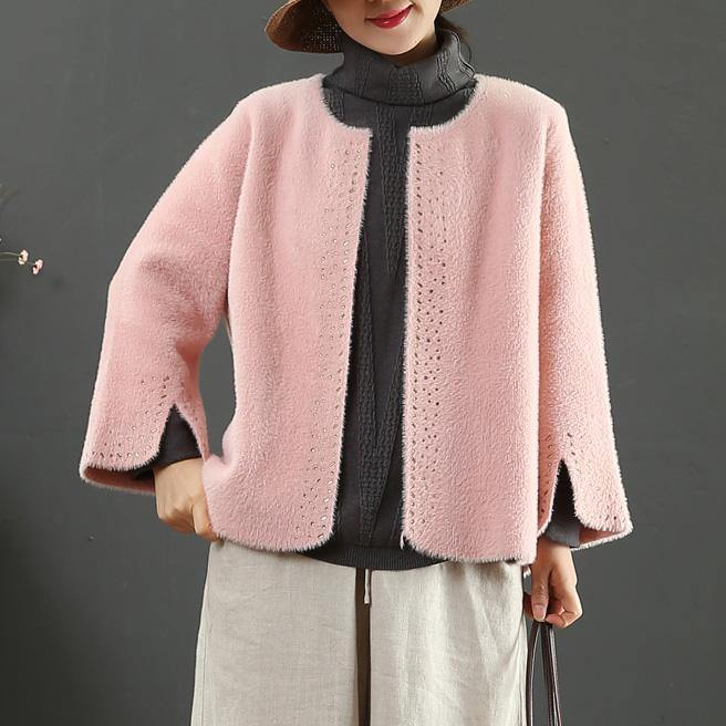 Elegant pink Woolen Coats Women Loose fitting winter jackets side open sleeve winter coat