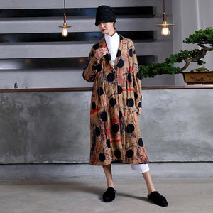 Elegant print dotted cotton overcoat plus size maxi coat Notched drawstring coat