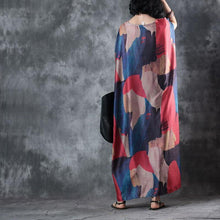 Load image into Gallery viewer, Elegant print maxi dresses o neck short sleeve summer dress baggy dresses