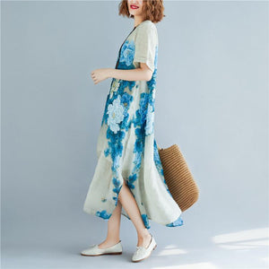 Elegant print silk cotton dress trendy plus size O neck pockets traveling dress New short sleeve side open long dresses
