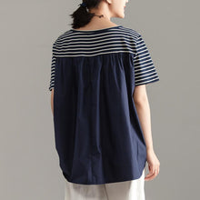 Load image into Gallery viewer, Elegant pure cotton blended blouse oversized Women Casual Short Sleeve Stripe Blue Tops