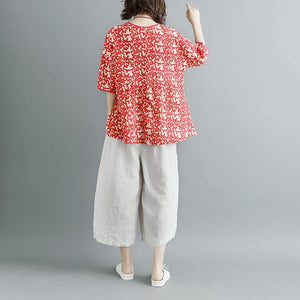 Elegant pure linen tops trendy plus size Summer Short Sleeve Floral Round Neck Red Casual Lacing Blouse