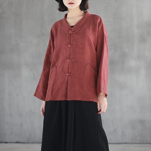 Elegant red linen top plus size clothing linen clothing blouses Elegant big pockets Chinese Button linen shirt
