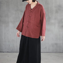 Load image into Gallery viewer, Elegant red linen top plus size clothing linen clothing blouses Elegant big pockets Chinese Button linen shirt