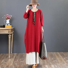 Load image into Gallery viewer, Elegant red cotton caftans oversize embroidery fall dresses boutique o neck kaftans
