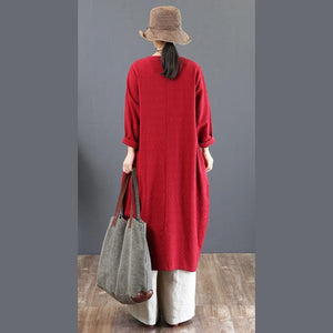 Elegant red cotton caftans oversize embroidery fall dresses boutique o neck kaftans