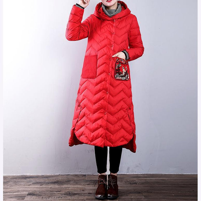 Elegant red duck down coat plus size clothing hooded YZ-2018111439