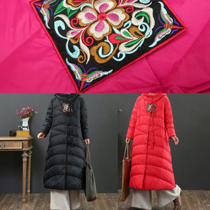 Elegant red goose Down coat plus size embroidery snow jackets Chinese Button top quality Jackets