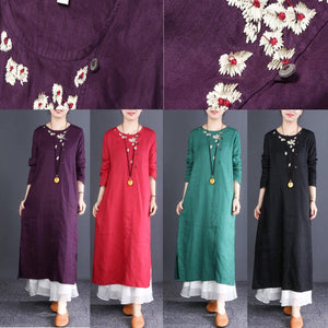 Elegant red linen clothes Fitted Neckline o neck embroidery Traveling Dresses